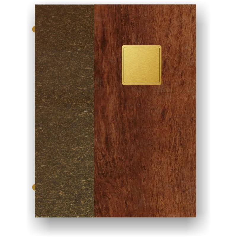 Portamenù in simil legno e cuoio mod. Lugano SMART A4