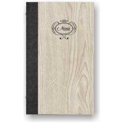 Portamenù in simil legno e cuoio mod. Bell SLIM A