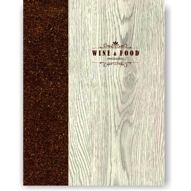 Portamenu' in simil legno e cuoio mod. Napoli Smart A009 83 cuoio marrone