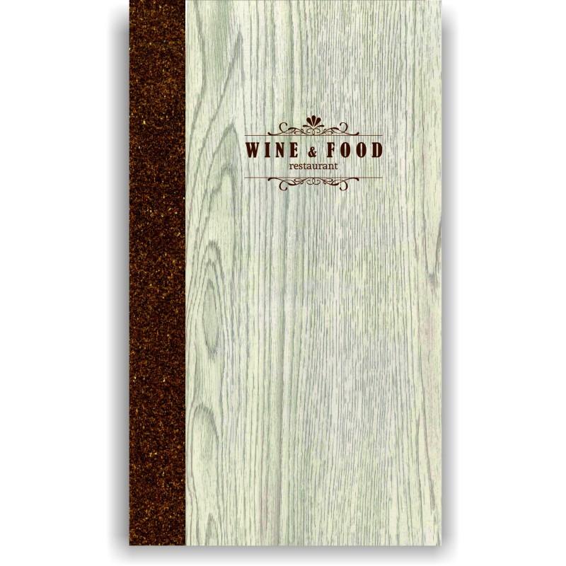 Portamenu' in simil legno e cuoio mod. Napoli Slim A009 83 cuoio marrone