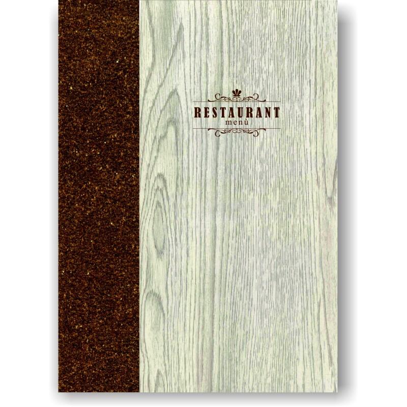Portamenu' in simil legno e cuoio mod. Napoli Smart A022 83 cuoio marrone
