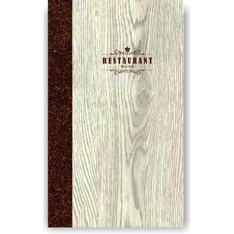 Portamenu' in simil legno e cuoio mod. Napoli Slim A022 83 cuoio marrone
