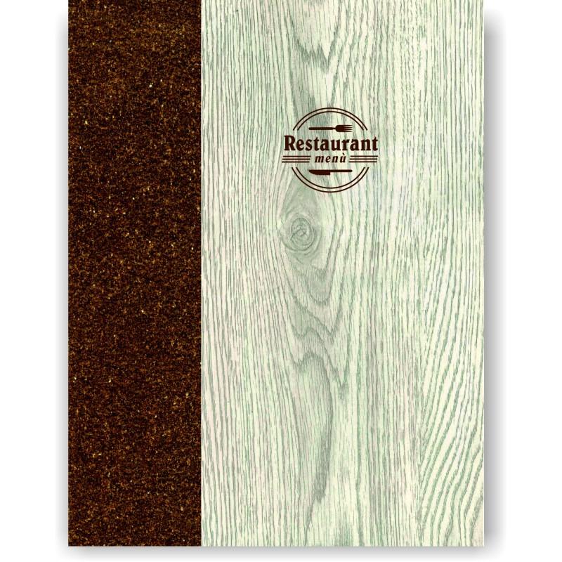Portamenu' in simil legno e cuoio mod. Napoli Smart A012 83 cuoio marrone