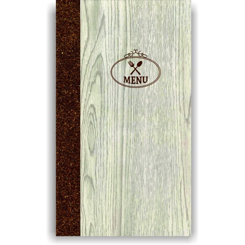 Portamenu' in simil legno e cuoio mod. Napoli Slim A008 83 marrone
