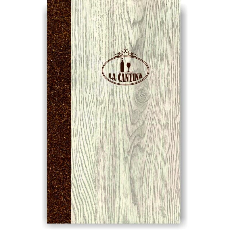 Porta carta dei vini in simil legno e cuoio mod. Napoli Slim A043 83 marrone