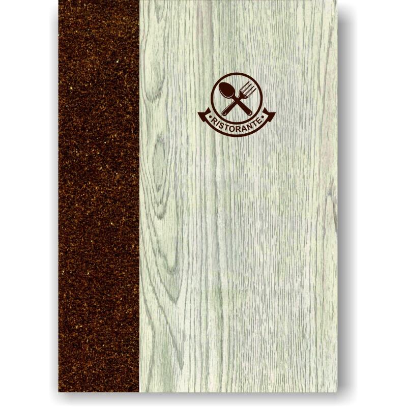Portamenu' in simil legno e cuoio mod. Napoli Smart A003 83 marrone