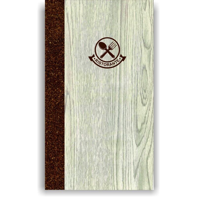 Portamenù in simil legno e cuoio mod. Napoli A003 83 marrone