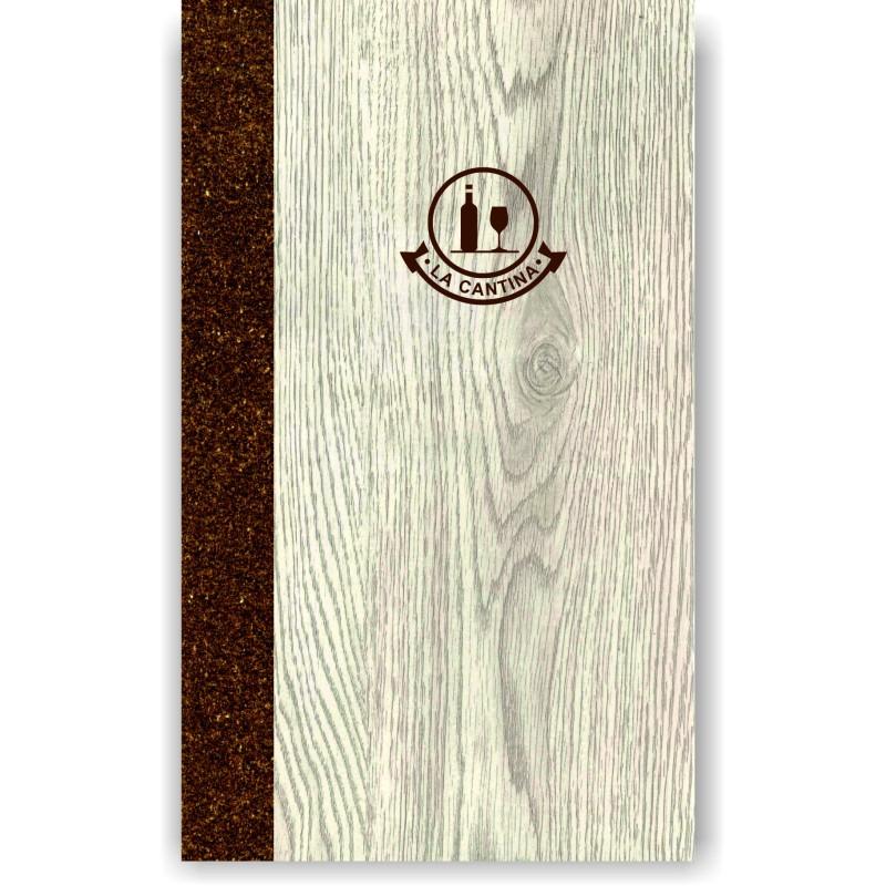 Porta carta dei vini in simil legno e cuoio mod. Napoli Slim A042 83 marrone