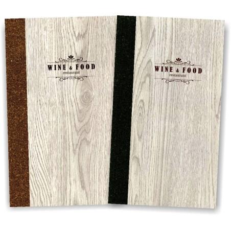 Portamenu' in simil legno e cuoio mod. Napoli Slim A009 83