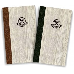 Portamenù in simil legno e cuoio mod. Napoli A003 83 marrone e antracite