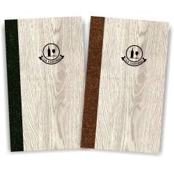 Porta carta dei vini in simil legno e cuoio mod. Napoli Slim A042 83 antracite e marrone