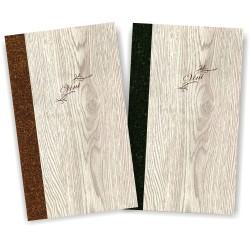 Porta carta dei vini in simil legno e cuoio mod. Napoli Slim A013 83 marrone e antracite