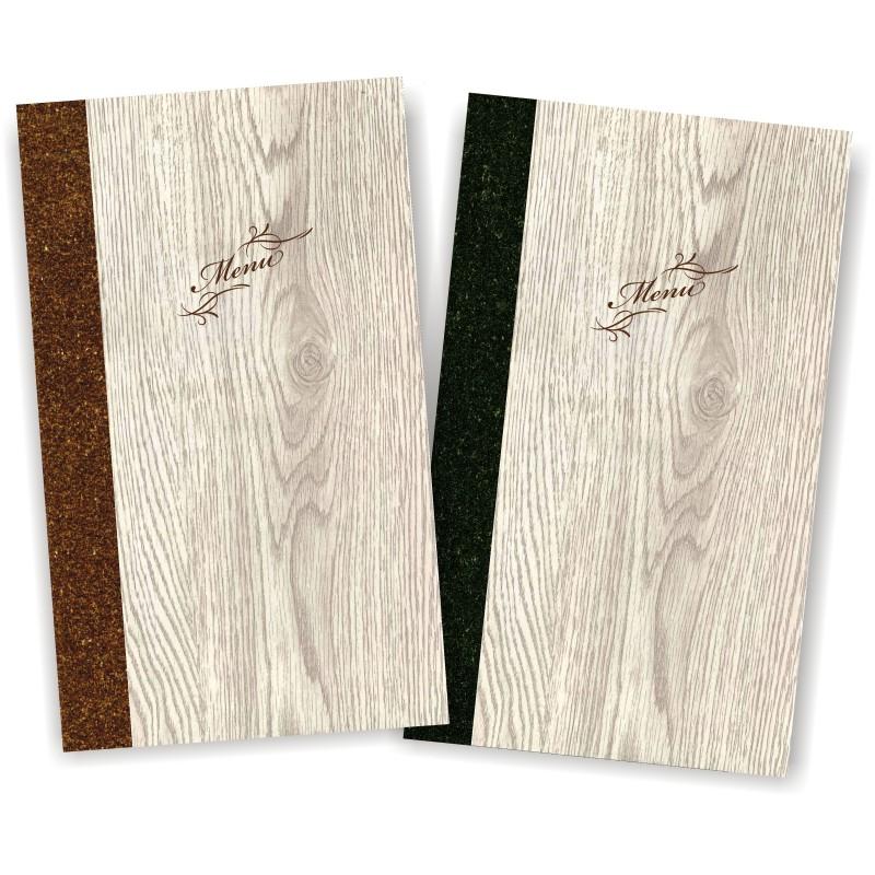 Portamenu' in simil legno e cuoio mod. Napoli Slim A012 83 marrone e antracite