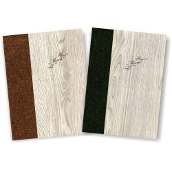Portamenu' in simil legno e cuoio mod. Napoli Smart A012 83 marrone e antracite
