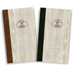 Portamenu' in simil legno e cuoio mod. Napoli Slim A008 83 marrone e antracite