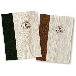 Porta carta dei vini in simil legno e cuoio mod. Napoli Smart A042 83 antracite e marrone