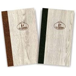 Porta carta dei vini in simil legno e cuoio mod. Napoli Slim A043 83 marrone e antracite