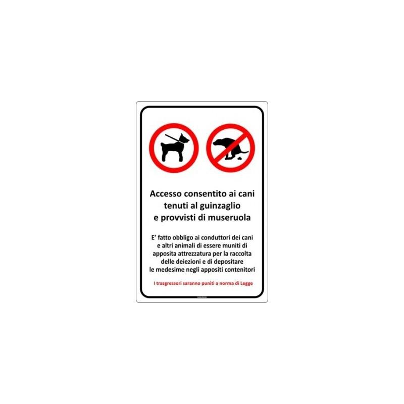 Cartello di cani al guinzaglio e deiezioni canine