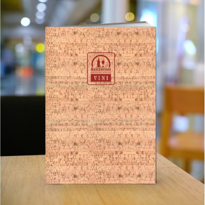Porta lista vini in cuoio finitura sughero IA05