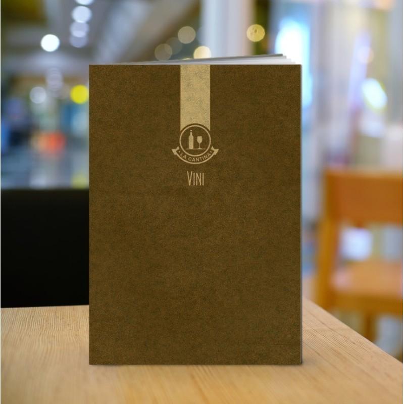 Porta lista dei vini in cuoio finitura marrone A004V