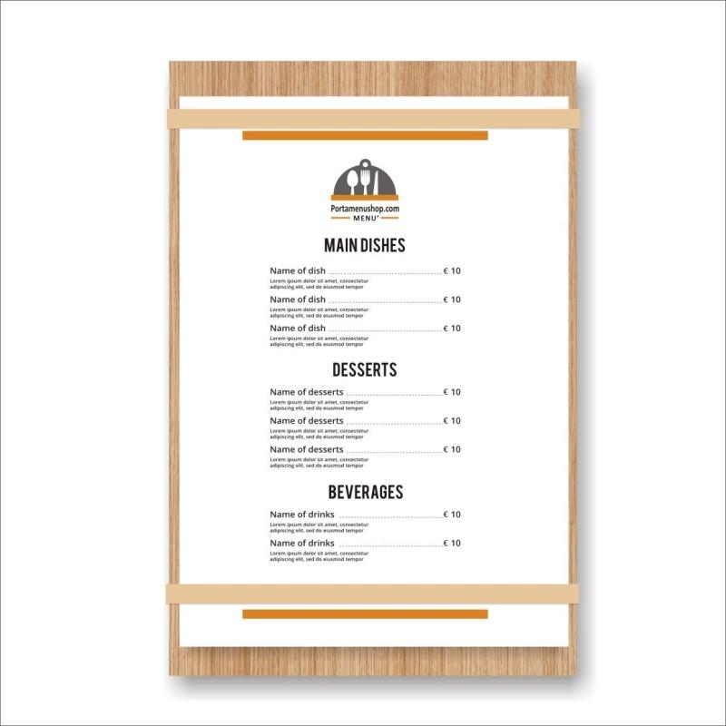 Porta menu del giorno in legno con finitura rovere