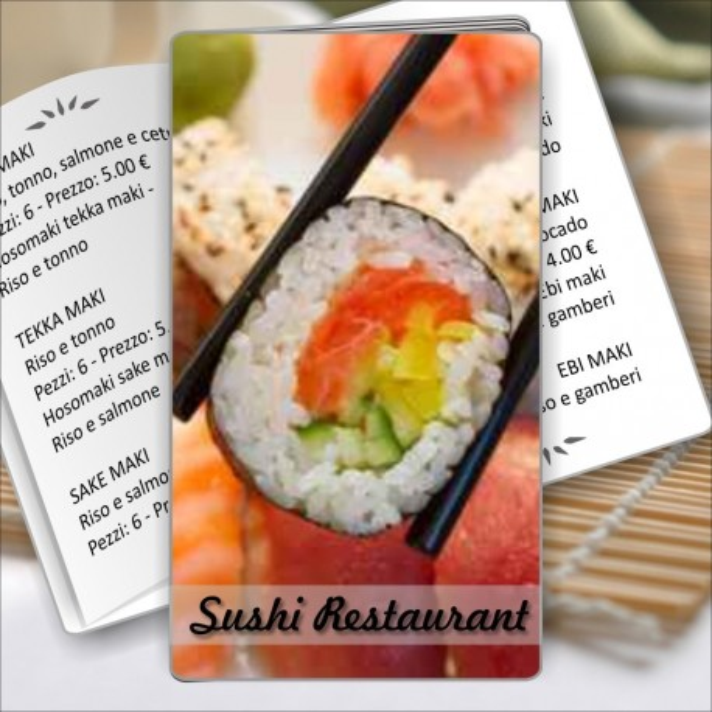 Porta menù Sushi restaurant 04 Transparent