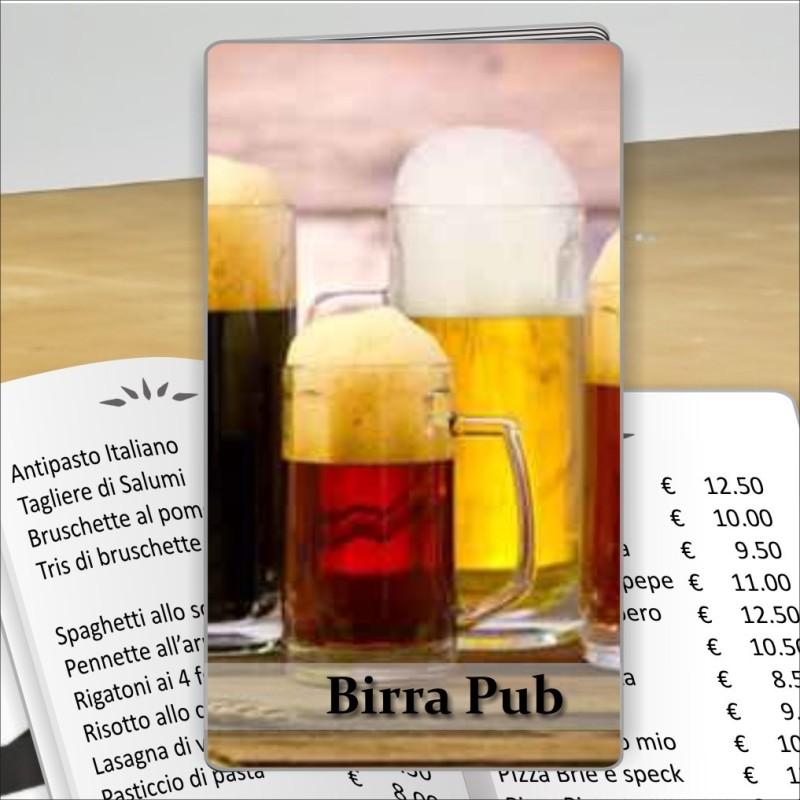 Porta menù personalizzabile per Birreria 02 Transparent formato SLIM