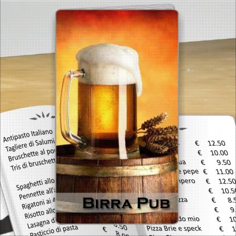 Porta menù personalizzabile per Birrerie 05 Transparent formato SLIM