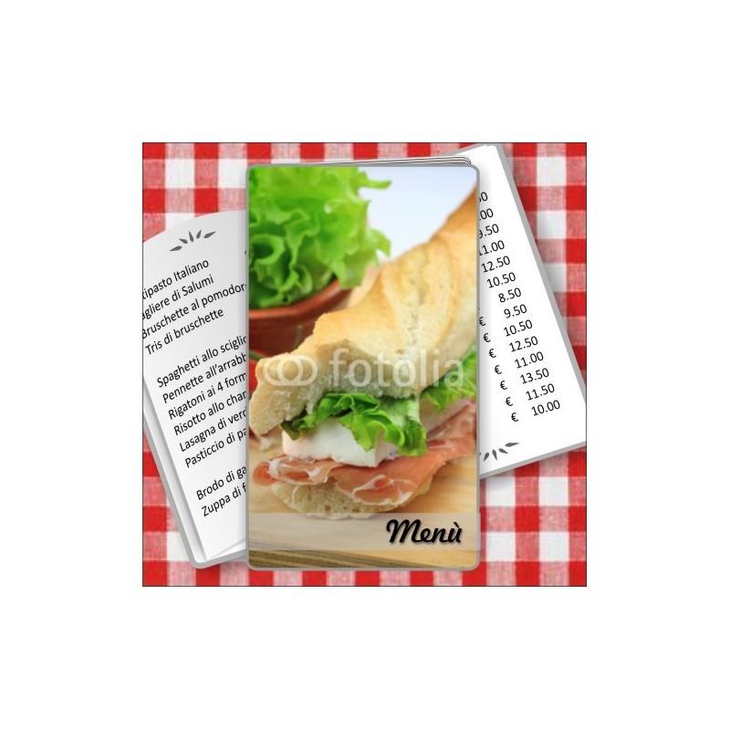 Porta menù personalizzabile per Paninoteca 48 Transparent formato SLIM