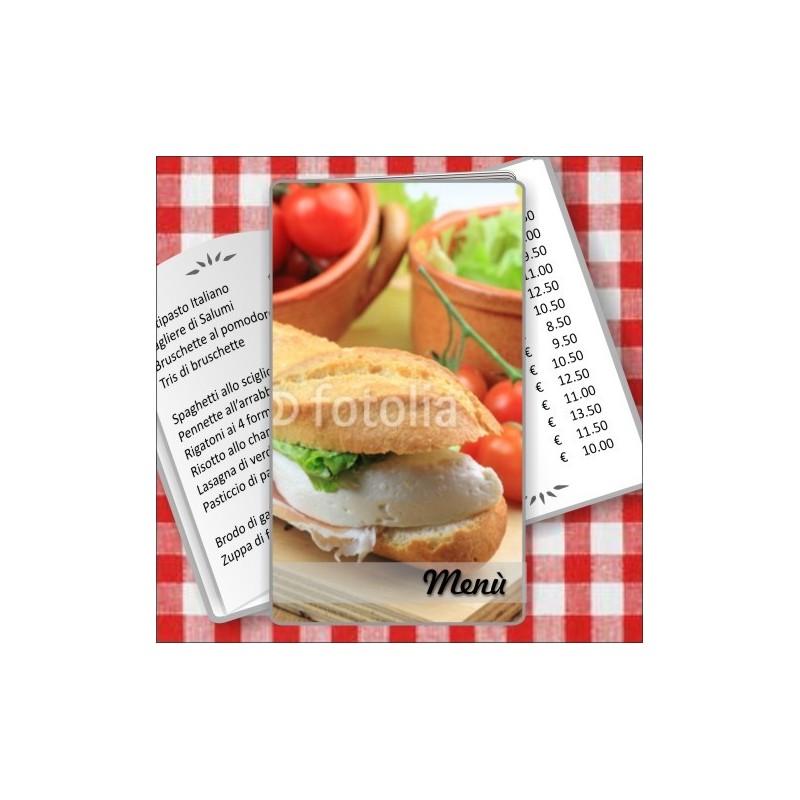 Porta menù personalizzabile Paninoteca 49 Transparent formato SLIM