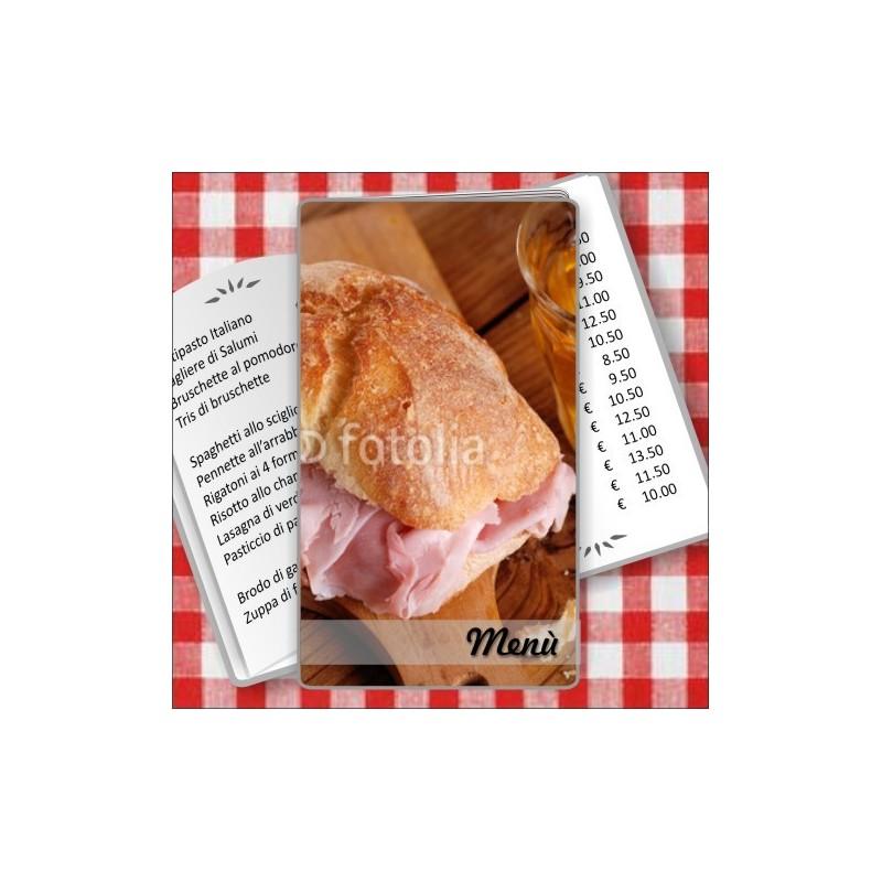 Porta menù personalizzabile Paninoteca 56 Transparent formato SLIM