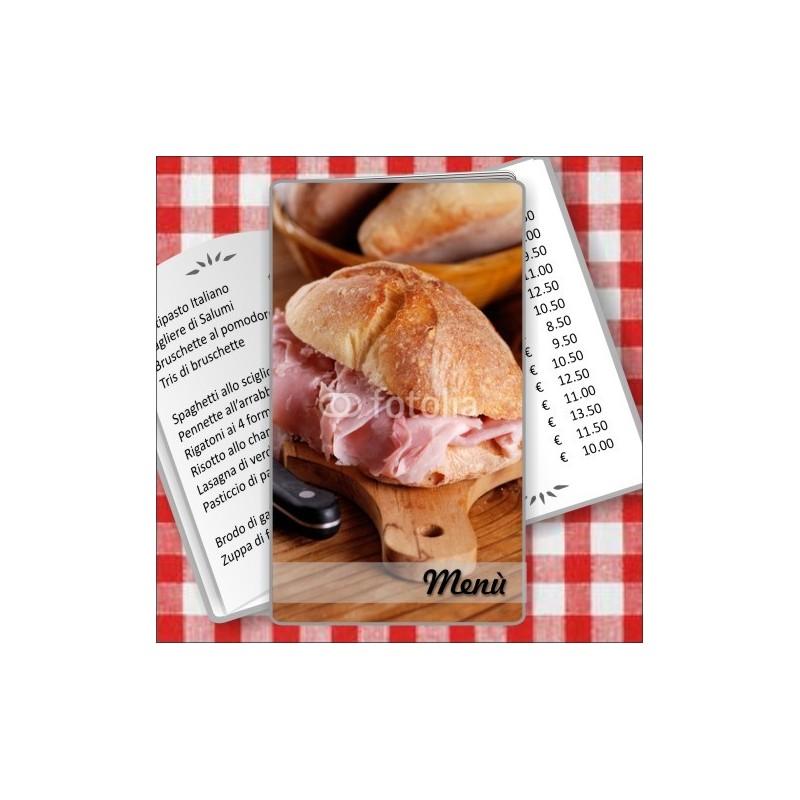 Porta menù personalizzabile Paninoteca 57 Transparent formato SLIM