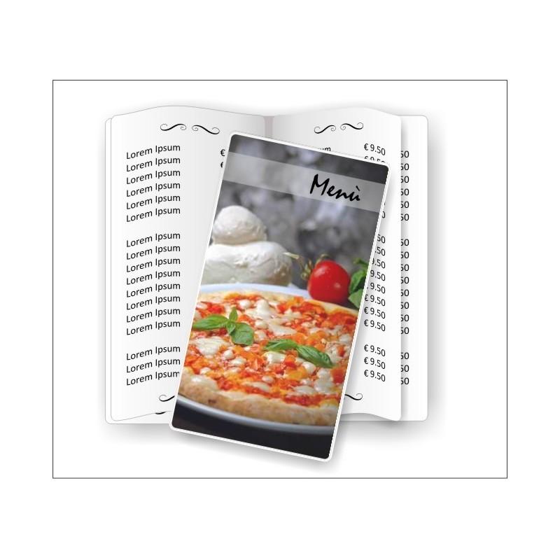Portamenù Pizzeria 01 Slim Transparent aperto