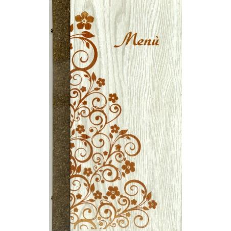 Portamenù in legno e cuoio mod. Firenze SLIM