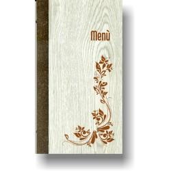 Portamenù in simil legno e cuoio mod. Sorrento SLIM