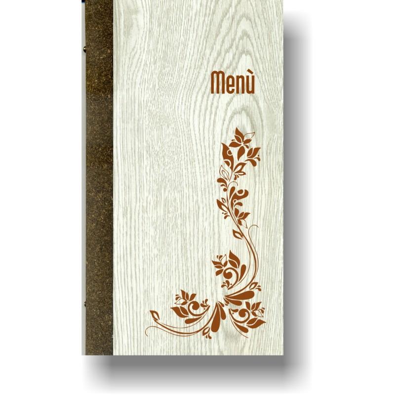 Portamenù in simil legno e cuoio mod. Sorrento  SLIM A