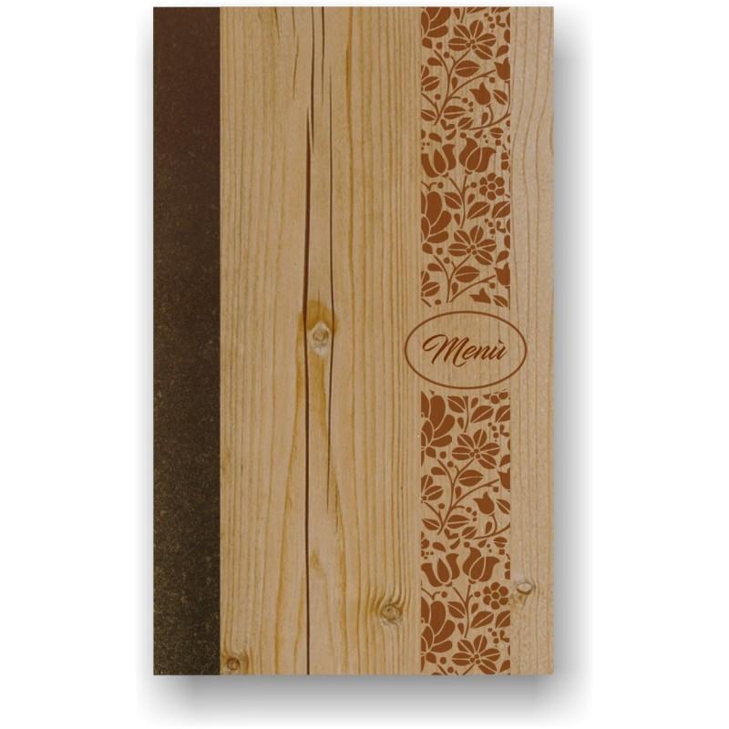 Portamenù in simil legno e cuoio mod. Naxos  SLIM A