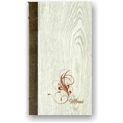 Portamenù in simil legno e cuoio mod. Genova  SLIM A