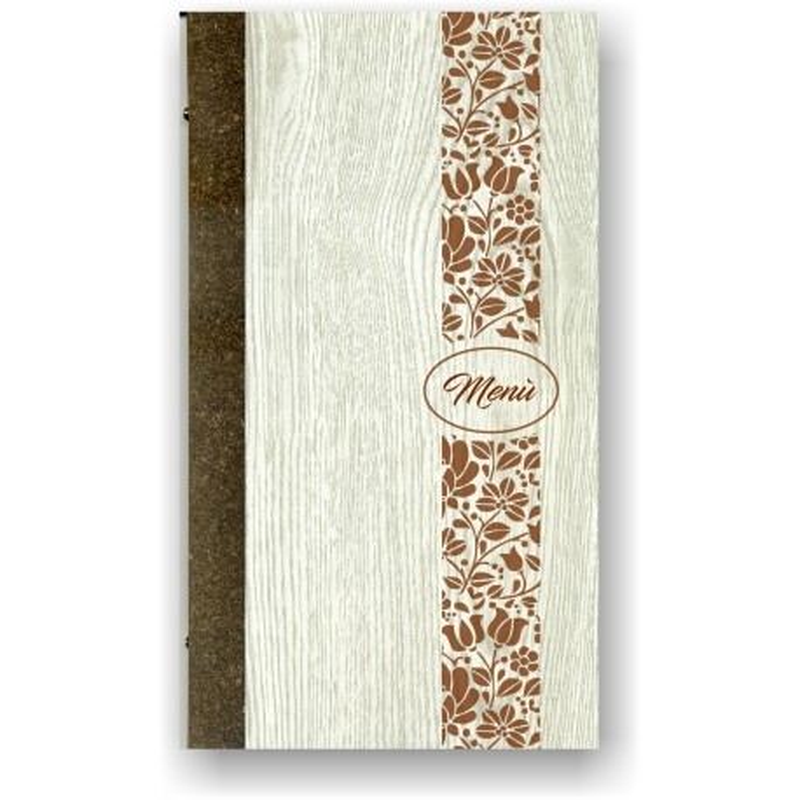 Portamenù in simil legno e cuoio mod. Pisa  SLIM A
