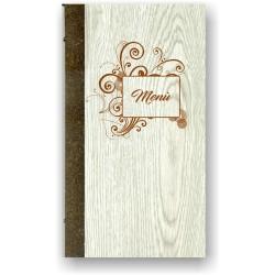 Portamenù in simil legno e cuoio mod. Capri  SLIM A